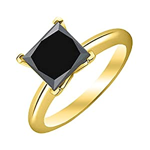 2 Carat 14K Yellow Gold Princess Black Diamond Solitaire Ring (AAA Quality)