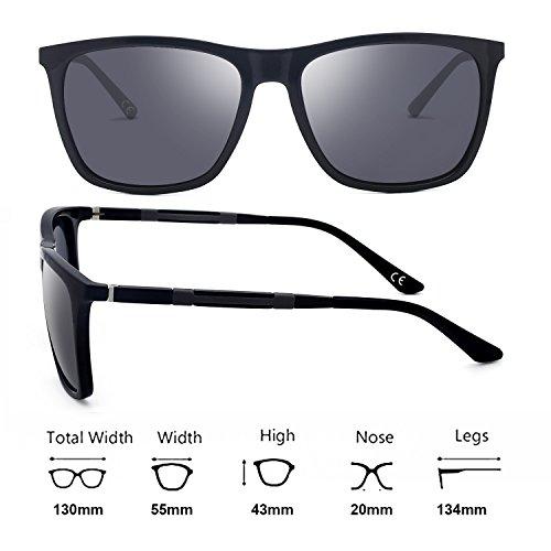 UV Femmes Polarisées BLEVET Black de Bright Hommes BE002 Gray Lens Protection Classique Soleil Lunettes qCaBT