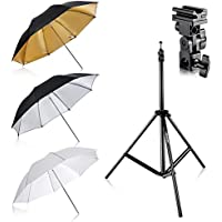 Neewer Flash Mount Three Umbrellas Kit 33/84cm White Soft/Silver Reflective/Gold Reflective Umbrella for Canon 430EX II,580EX II,Nikon SB600 SB800,Yongnuo YN 560,YN 565,Neewer TT560,TT680