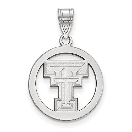 Beautiful Sterling silver 925 sterling Sterling S. Rh-p LogoArt Texas Tech University Med Pendant in Circle