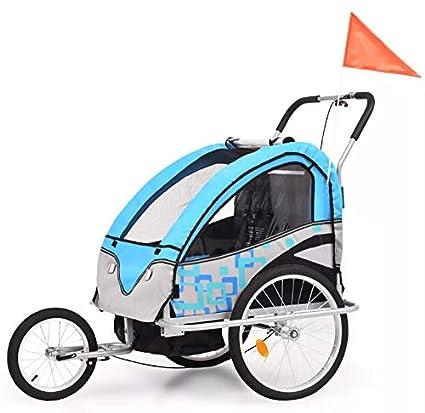 AEVOBAS VidaXL Remolque para Niños Dos PLAZAS con Amortiguadores Carro para Bicicleta con Barra (No
