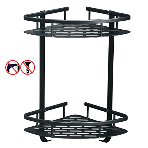 BESy Adhesive Shower Corner Caddy Bathroom Shower Corner Shelf with Hooks Durable Aluminum 2 Tiers No Damage Shower Storage Triangle Basket Sticky,No Drill with Glue or Wall Mount with (Install Shower Wall Tile)