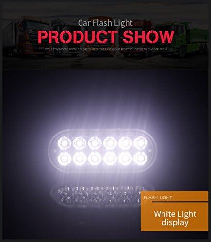 FEZZ/2pcs Auto Feux Stroboscopique 12 LED Lampe P/én/étrations Alarme Urgence Strobe Ambre pour Voiture Camion Remorque Caravane V/éhicule