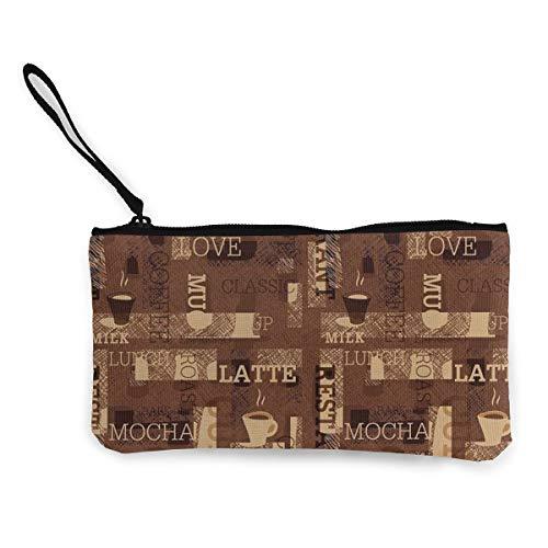 Cafeteria Pattern with Hot Mocha Latte Milk Womens Canvas Coin Purse Mini Change Wallet Pouch-Card Holder Phone Wallet Storage Bag,Pencil Pen Case