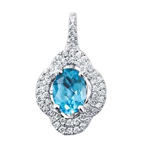 Ferhe New York 18K, Pendant + Chain,1.3 Carat Swiss Blue Topaz,0.3 Carat Diamond, White Gold 18K Pendant With Swiss Blue Topaz by Ferhe New York