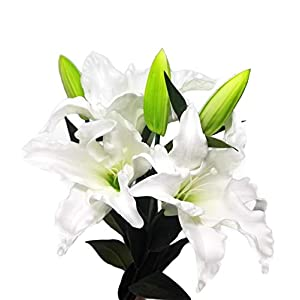 "Meide Group USA 30"" Long XLarge Real Touch Easter Tiger Lily Artificial Spring Flowers (3 pcs) (Milky White) 24"