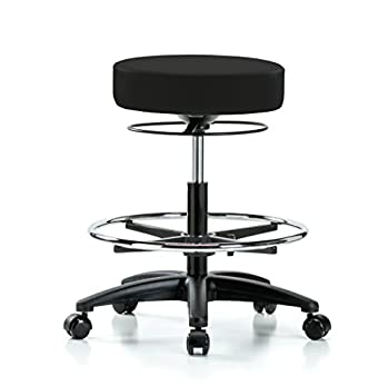 """Perch Stella Rolling Adjustable Stool with Footring Medical Salon Spa Massage Tattoo Office 21"""" - 28.5"""" (Soft Floor Casters/Black Fabric)"""