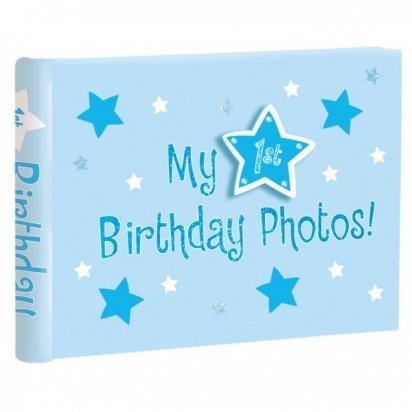 1st Birthday Photo Album Blue Amazoncouk Toys Games