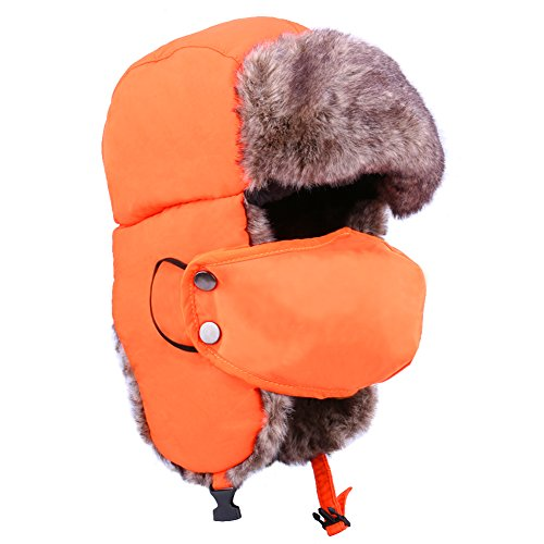 Beurio Orange Unisex Winter Russian Hunting Snow Hats