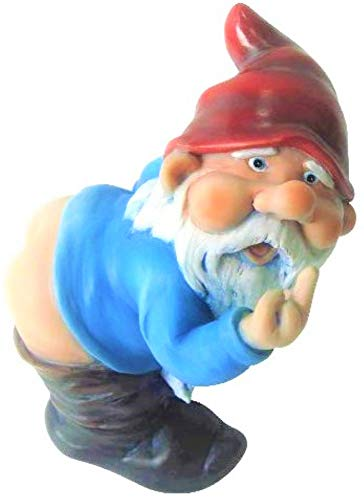 Funny Guy Mugs Garden Gnome Statue - Mooning Gnome - Indoor/Outdoor Garden Gnome Sculpture for Patio, Yard or Lawn