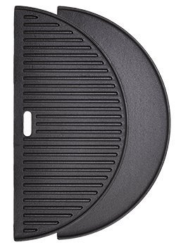 Half Moon Cast Iron Reversible Griddle for Large Big Green Egg and 18in Kamado Grills (Big Green Egg Cast Iron)