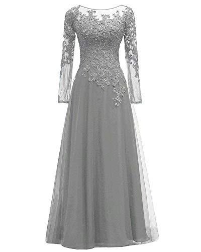 Women's Lace Appliques Mother of The Bride Dress Tulle Long Sleeves Evening Prom Gown BeadedSilver Grey 18 Plus ()