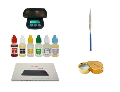 - Complete PuriTEST Metals Testing Kit with Digital Scale, 2 Stones, File, and Gold 30x Loupe