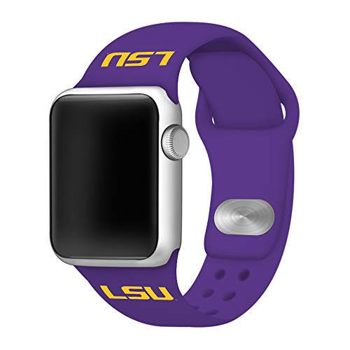 (AFFINITY BANDS LSU Tigers Silicone Sport Band Compatible with Apple Watch - (42mm/44mm Purple))