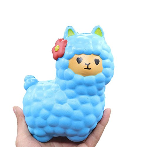Wotryit Jumbo Sheep Squishy Cute Alpaca Galaxy Super Slow Rising Scented Fun Animal Toys (Blue Sheep)