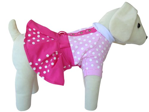 UP Collection Fuchsia Polka Dots Dog Dress, Pink, X-Small, My Pet Supplies