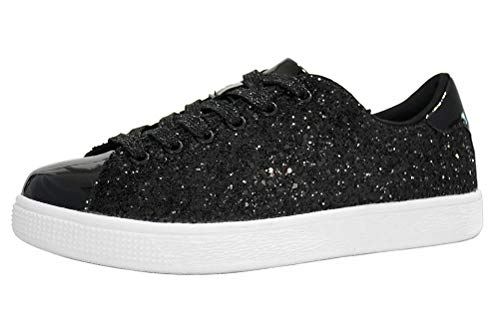 LUCKY STEP Glitter Sneakers Lace up | Fashion Sneakers | Sparkly Shoes for Women (9 B(M) US,Black) ()