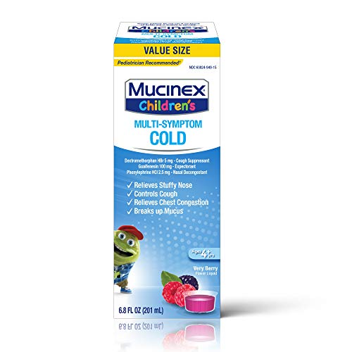Cough Suppresent, Chest Congestion and Stuffy Nose Relief, Mucinex Children's Multi-Symptom Cold Liquid, 6.8 Fluid Ounce, Very Berry, Dextromethorphan, Guaifenesin, Phenylephrine