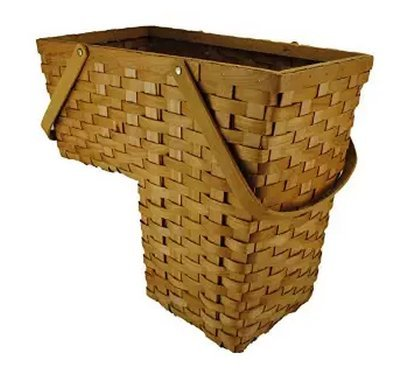 (Topot Woodchip Stair Step Basket with Swift Handles)