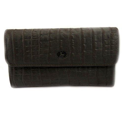 Wallet + checkbook holder leather 'Frandi' brown crocodile. by Frandi