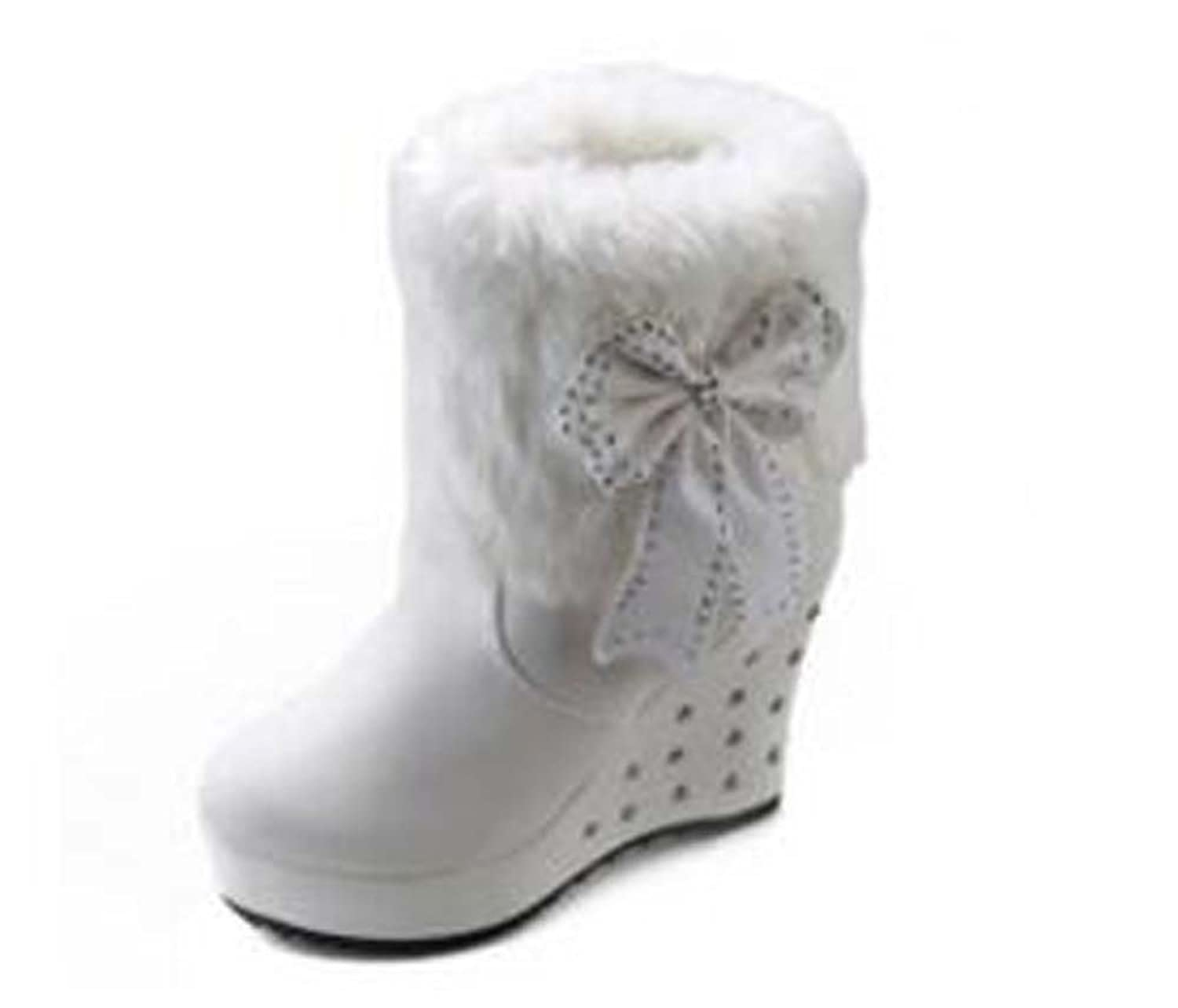 Naughtyangel Women's Sweet Bowknot Round Toe Snow Boots Winter Warm Mid-calf Faux Fur Flat Boots