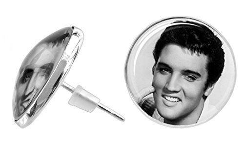 Elvis Presley Earrings Silver Plated Love Me Tender Large Glass Dome Elvis Studs - Unique Christmas (Elvis Presley Dome)