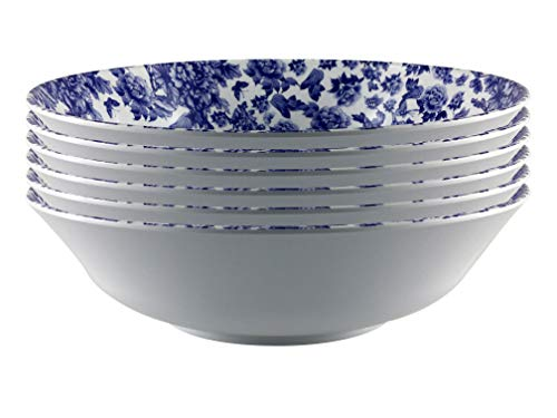 "ARC USA,6607F Melamine dinnerware,Shallow Bowl set of 6,100% Melamine,FDA Safe, Elegant, Heavy Duty, Great for Cereal, Pasta, Ice Cream, Salad, Soup, Ramen, PHO & Menudo (8.5"", White with blue floral)"
