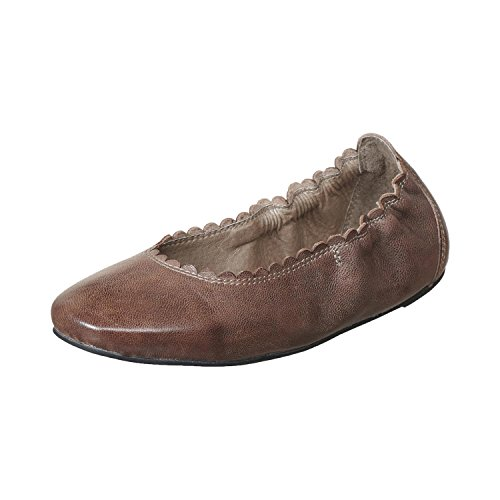 Grey 108 Antelope Leather Women's Scalloped Ballet F6XcwOTxq