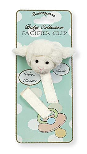 Sheep Lamb Baby - Bearington Baby Lamby Plush Lamb Pacifier Holder with Satin Leash and Clip