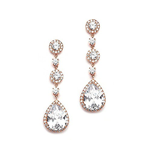 18K Gold/Silver/Rose Gold Plated Crystal Cubic Zirconia Bridal Earrings with Pear Shape Drops Dangles