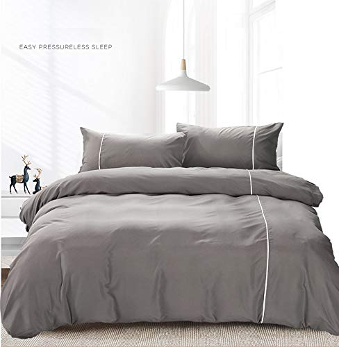 (TIFFICO Duvet Cover Queen Set - 90x90 Luxury Microfiber Soft Lightweight Gray Duvet Comforter Quilt Covers with Zip Ties - 3 Piece (1 Double Cover, 2 Bed Pillowcase) for Women)