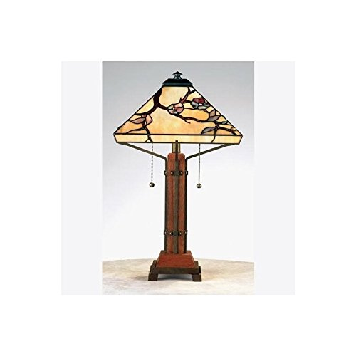 Quoizel TF6898M Grove Park Tiffany Table Lamp, 2-Light, 120 Watts, Iron with Wood Accents (24