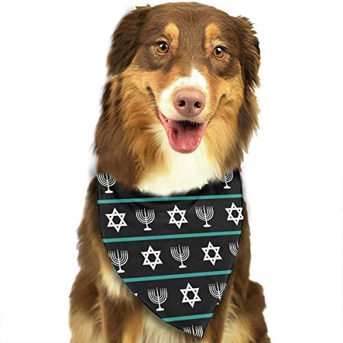 Hanukkah Jewish David Star Candlestick Pattern Pet Scarf Dog Bandana Pet Triangle Bibs ()