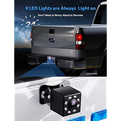 Peizeen Backup Camera Wire 4.3 inch Screen with 8 LED Lights Rear View Camera IPK69 Waterproof Night Vision Reversing System, for Within 26FT Cars, RVs, Pickups, Minivans, Mini Trailer.: Car Electronics