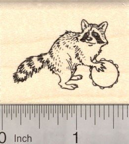 Raccoon Playing a Tamborine Rubber Stamp, Parade or Band