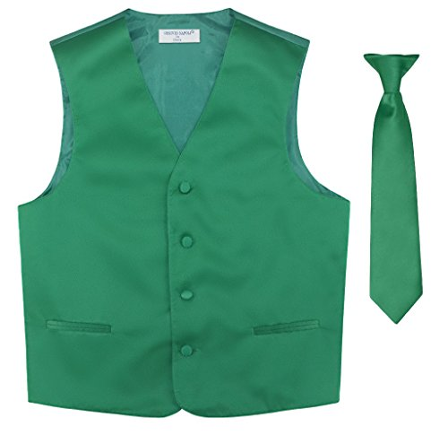 BOY'S Dress Vest & NeckTie Solid EMERALD GREEN Color Neck Tie Set size 4