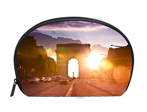 (Half-moon Cosmetic Bag Avenue des Champs Elysees with Arch of Triumph during sunset Travel Cosmetic Case Luxury Makeup Artist)