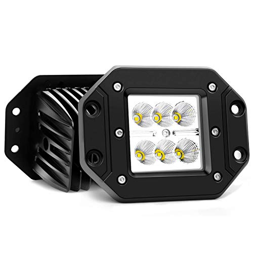 Turbo 2pcs Flood 3x3 Dually Flush Mount Led Light Lamps Dually D2 Off Road Back Up Reverse lights for 4x4 4wd Jeep Truck F150 F250 F350 Toyota Tacoma Honda Dodge Ram Chevy Silverado Front/Rear Bumper