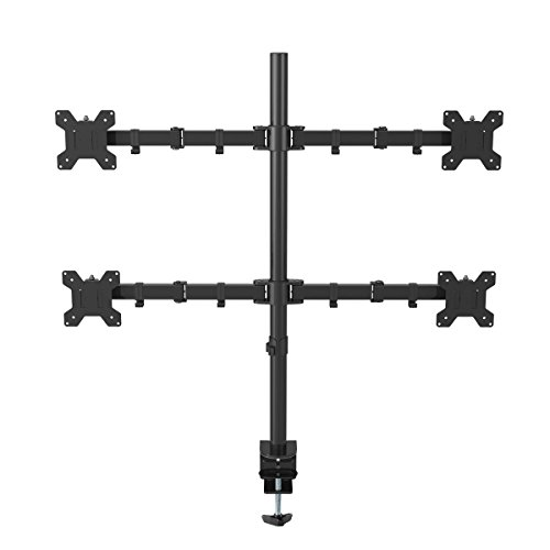 Suptek Quad Arm Monitor Stand Desk Mount Bracket Heavy Duty Fully Adjustable fits Four Screens up to 27