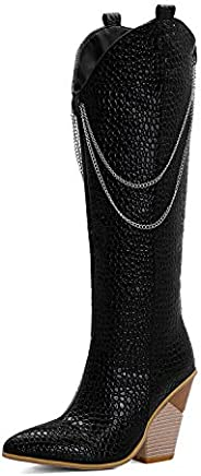 LYYSKY Women Fashion Chunky Wedge Heel Back Zipper Metal Chain Decoration Knee High Boots Comfy Concise Pointe
