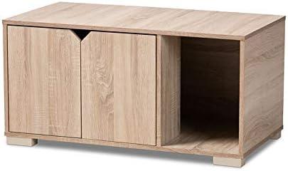 Baxton Studio Jasper Oak Finished 2-Door Wood Cat House