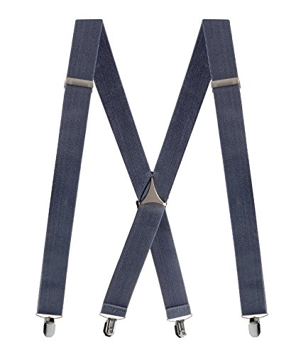 "Denim Suspenders (Buyless Fashion Mens 48'' Elastic Adjustable 1 1/2"" Suspenders In X Shape – Denim Blue)"