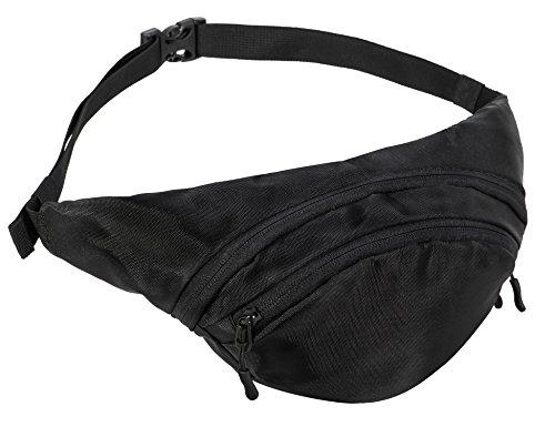 Zipper Black Waist Bum Bag Fanny Pack Travel Pocket - 7