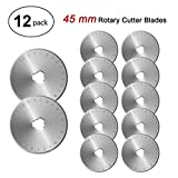 45mm Rotary Cutter Blades Set, Fits Fiskars, Olfa, Truecut, Martelli & More, AGPtEK Rotary Replacement Blades, Pack of 12, Perfect for Quilting Scrapbooking Sewing Arts Crafts