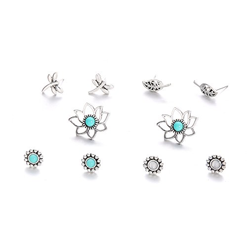 MIXIA 5 Pairs/Set Boho Hollow Dragonfly Lotus Leaves Gem Opal Geometric Stud Earrings Women Charm Silver Ear Studs ()