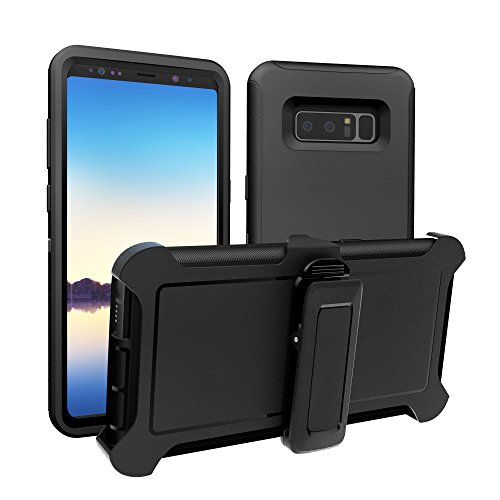 Galaxy Note 8 Case, ToughBox [Armor Series] [Shockproof] [Black] for Samsung Galaxy Note 8 Case [Comes with Holster & Belt Clip] [Fits OtterBox Defender Series Belt Clip]