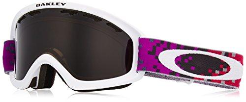 Oakley O-Frame 2.0 XS Snow Goggles, Pixel Fade Iron Rose Frame, Dark Grey Lens, Small (Frame Fade Grey Lens)