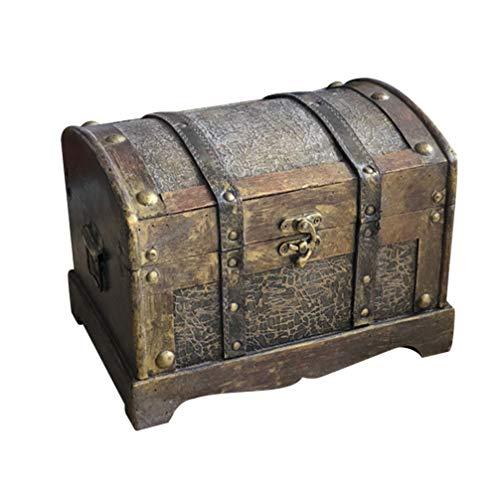Wooden Vintage Treasure Box Jewelry Organizer Antique Home Decor Chest Retro Top