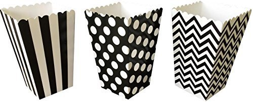 Outside the Box Papers Chevron, Stripe and Polka Dot Paper Popcorn Boxes 36 Pack Black, White
