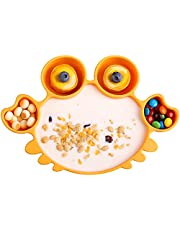 Silicon Plates for Toddlers and Kids, Non Slip Suction Plates, BPA Free Baby Self Feeding Divided Dinner Plates, Fits for Most Highchair Trays, Complimentary Spoon and Fork, Dishwasher Safe